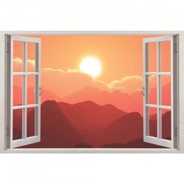 Fereastra 3D, Sticker perete - Peisaj cu apus de soare la munte