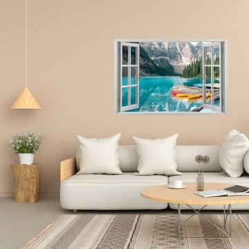 Fereastra 3D, Sticker perete - Peisaj cu barci pe lac