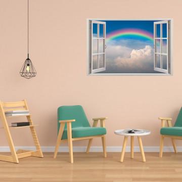 Fereastra 3D, Sticker perete - Peisaj cu cer senin si curcubeu