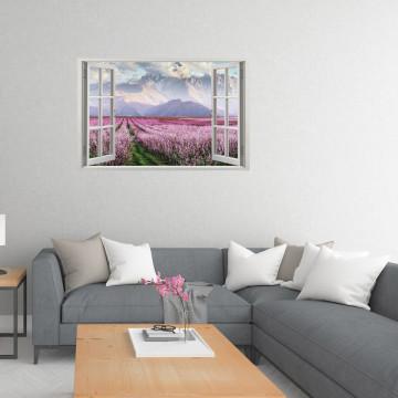 Fereastra 3D, Sticker perete - Peisaj cu munte si flori