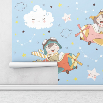 Fototapet autoadeziv copii - Copilasii cu avioane