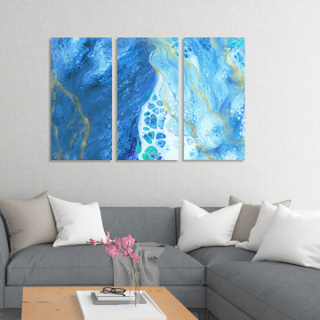 Set 3 Tablouri Canvas, Blue