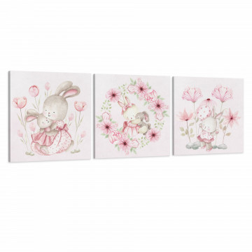 Set 3 Tablouri Canvas, Iepurasul & Mama