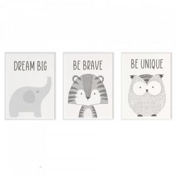 Set 3 tablouri - Elefantul, Tigrul, Bufnita
