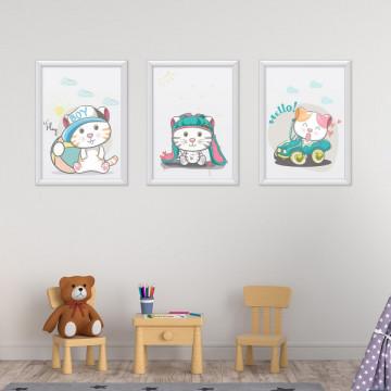 Set 3 tablouri - Pisicutele hello