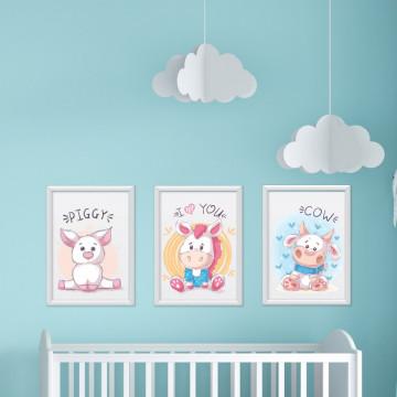 Set 3 tablouri - Porcusorul & Unicornul & Vacuta