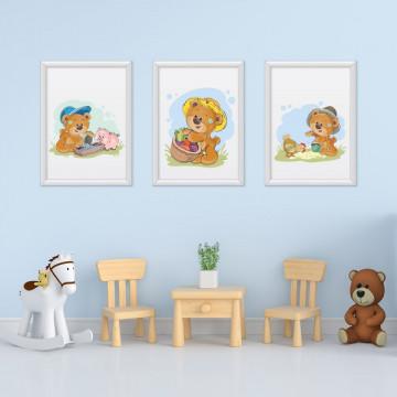 Set 3 tablouri - Ursuletii Harnici