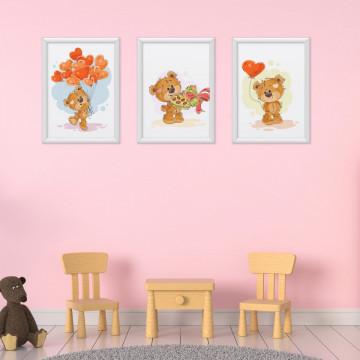 Set 3 tablouri - Ursuletii iubitori