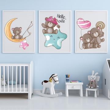 Set 3 tablouri - Ursuletii maro