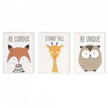 Set 3 tablouri - Vulpea, Girafa, Bufnita
