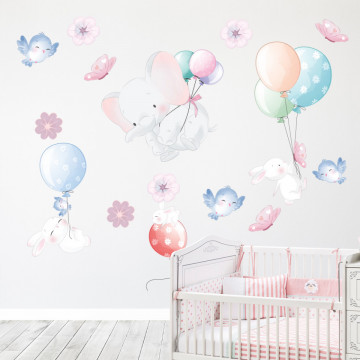 Set stickere decorative perete copii - Animale & Balonase, 60x90cm