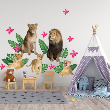 Set stickere decorative perete copii - Animale in Salbatice12 , 60x90cm