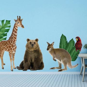 Set stickere decorative perete copii - Animalele Junglei 5 , 60x90cm
