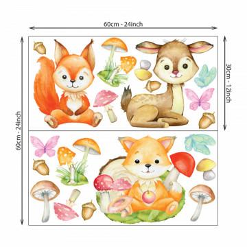 Set stickere decorative perete copii - Animalele padurii , 60x60cm