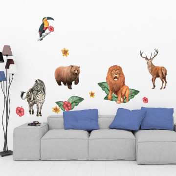 Set stickere decorative perete copii - Animalele Salbatice5, 60x90cm