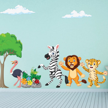 Set stickere decorative perete copii - Animalele Vesele2 , 60x90cm