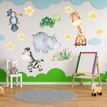 Set stickere decorative perete copii - Animalute din jungla 1, 60x90cm