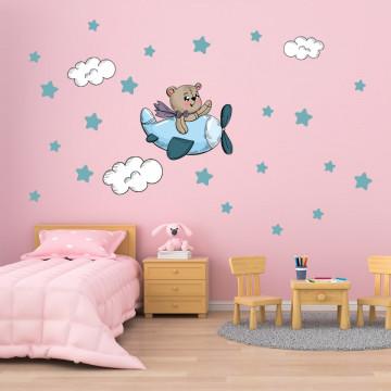 Set stickere decorative perete copii - Avion cu ursulet si stelute