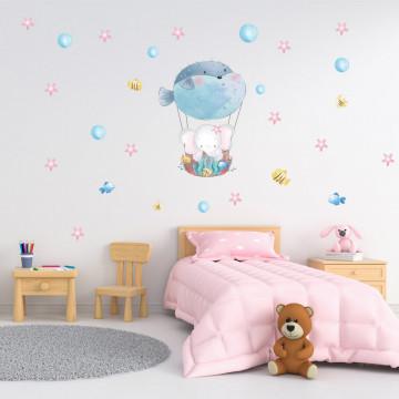 Set stickere decorative perete copii - Elefantul cu pestele balon, 60x90cm
