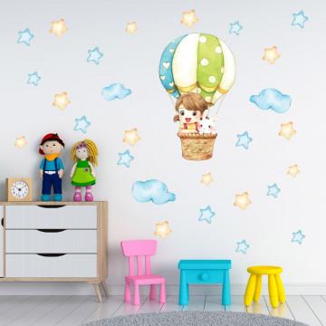 Set stickere decorative perete copii - Fetita si iepurasul cu balon 60x90