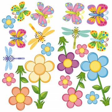 Set stickere decorative perete copii - Floricele3, 60x60cm