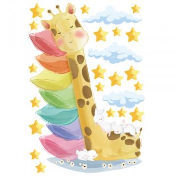 Set stickere decorative perete copii - Girafa doarme pe 7 perne