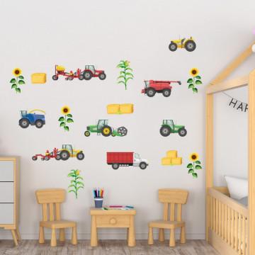 Set stickere decorative perete copii - Masinile pentru agricultura 60x90