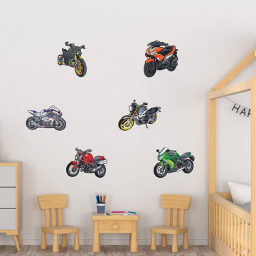 Set stickere decorative perete copii - Motocicletele 60x90