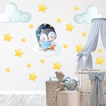 Set stickere decorative perete copii - Pinguinul somnoros , 60x60cm