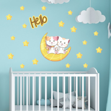 Set stickere decorative perete copii - Pisicutele pe luna 60x90