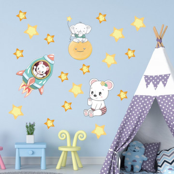 Set stickere decorative perete copii - Racheta & Luna 60x90