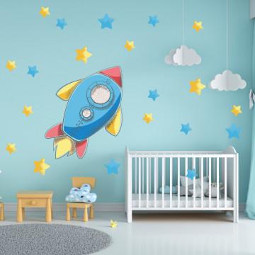 Set stickere decorative perete copii - Racheta2 , 60x60 cm