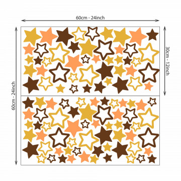 Set stickere decorative perete copii - Stelute multicolore galben si maro , 60x60cm