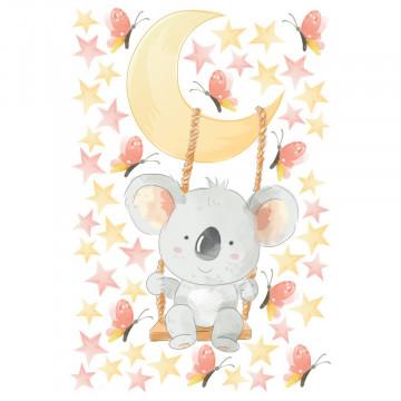 Set stickere decorative perete copii - Ursuletul Koala in leagan pe luna 40x60