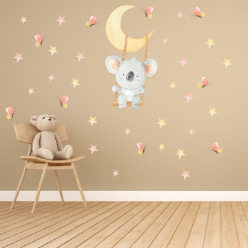 Set stickere decorative perete copii - Ursuletul Koala in leagan pe luna 60x90