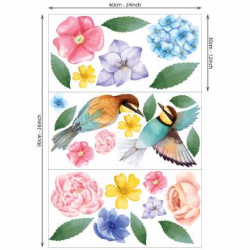 Set stickere decorative perete - Floricele & Pasarele, 60x90cm