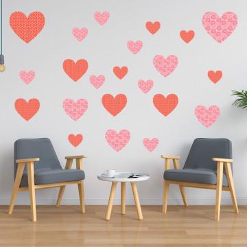 Set stickere decorative perete - Inimioare6, 60x60cm