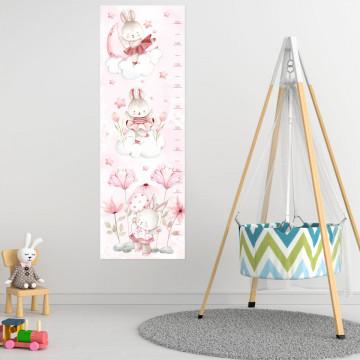 Sticker perete Masurator pentru copii - Iepurasii veseli, 40x120 cm