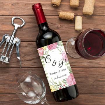 Sticla vin Personalizata - Initiale, nume si data