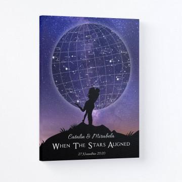 "Tablou Canvas personalizat ""Harta Stelelor"" - When the stars aligned"