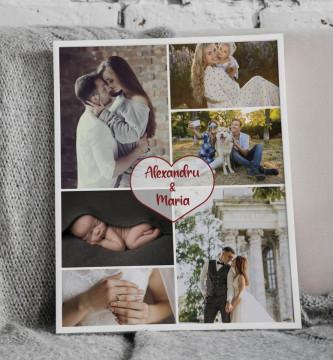 Tablou personalizat cu sase poze si nume