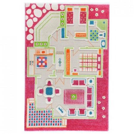 Covor copii 3D interactiv Casa papusii roz 100x150 cm