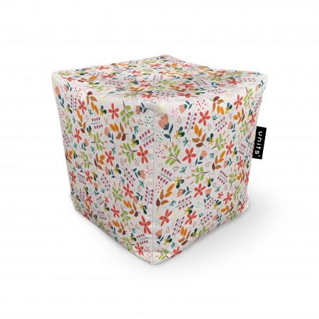 Fotoliu Units Puf (Bean Bags) tip cub, impermeabil, alb cu flori multicolore