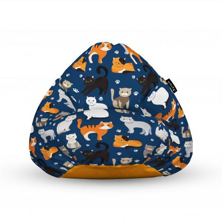 Fotoliu Units Puf (Bean Bags) tip para, impermeabil, cu maner, 100x80x70 cm, pisici fundal albastru