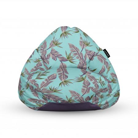 Fotoliu Units Puf (Bean Bags) tip para, impermeabil, cu maner, cian cu frunze gri
