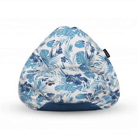 Fotoliu Units Puf (Bean Bags) tip para, impermeabil, cu maner, frunze albastre
