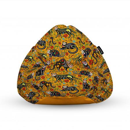 Fotoliu Units Puf (Bean Bags) tip para, impermeabil, cu maner, 100x80x70 cm, pisici dia de los muertos
