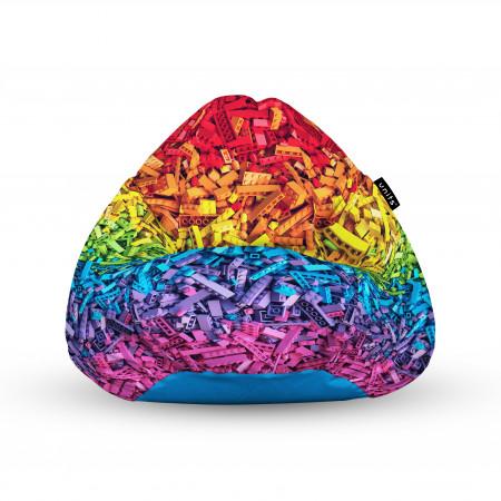 Fotoliu Units Puf (Bean Bags) tip para, impermeabil, cu maner, 100x80x70 cm, lego curcubeu