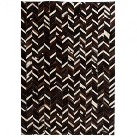 Covor piele naturala, mozaic, 120x170 cm zig-zag Negru/alb