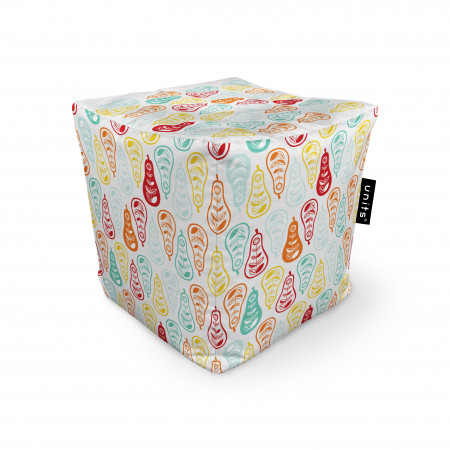 Fotoliu Units Puf (Bean Bags) tip cub, impermeabil, alb cu pere multicolore